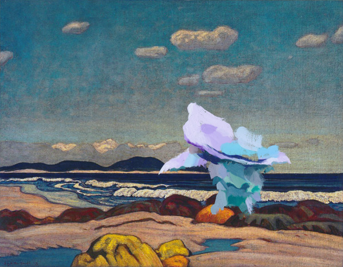 andrea-taylor-stranger-in-a-strange-land-2-painting-on-photograph-jeh-macdonald-seashore-nova-scotia-1923-andrea-taylor